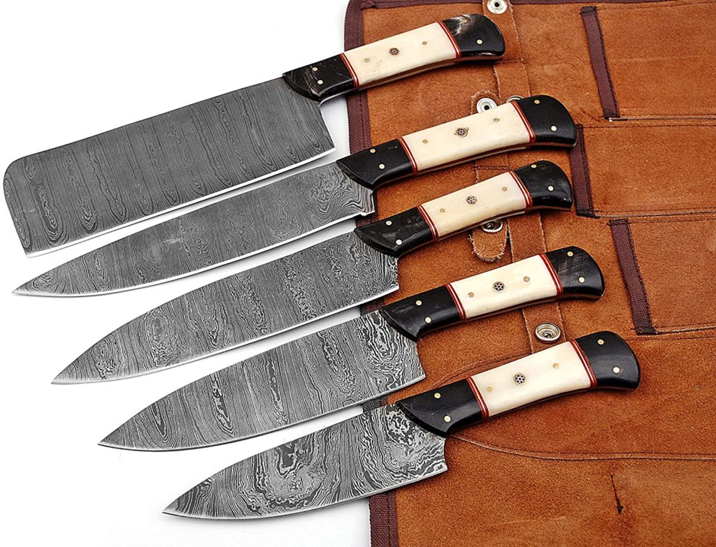 chef knife set with roll